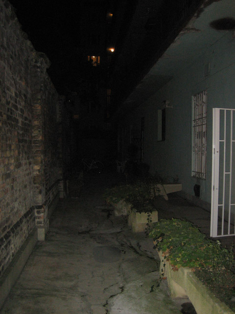 Our front courtyard. You have to crawl deep into a dungeon to get to it. No, not really, it was just nighttime when I took the photo.