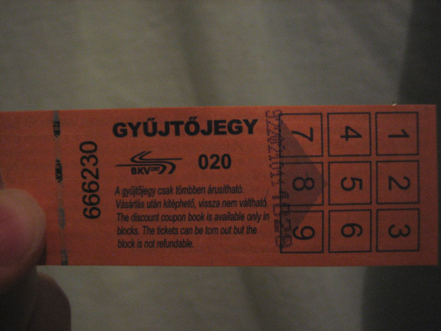 The tram ticket in question