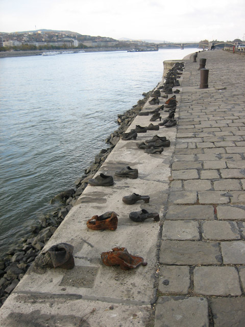 A beautiful memorial made of cast-iron shoes from long ago. Although we