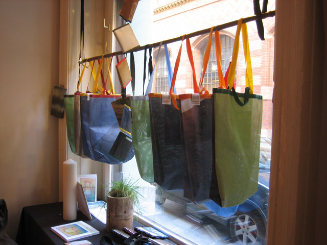These bags were examples of what you could make at the workshop.