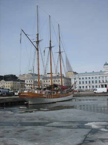 The Helsinki harbor was beautifully fresh and still filled with ice chunks floating in the water.