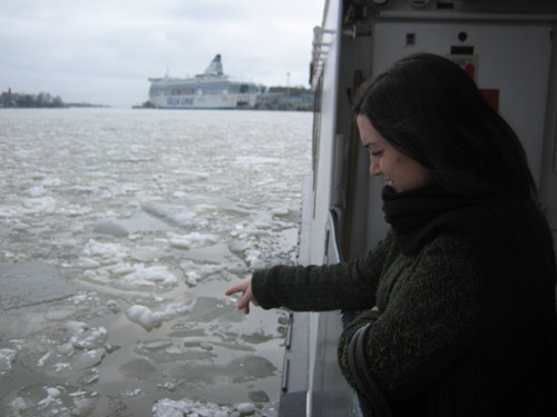 There was still a lot of ice near the shores that scraped the bottom of the ferry as we passed over it. Good thing we were close enough to the shore that if there happened to be a Titanic reenactment, we wouldn't be too far away from rescue. But I would totally want to play the part of The Unsinkable Molly Brown.